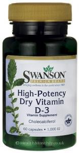 Swanson High Potency Vitamin D-3 60caps 1000IU
